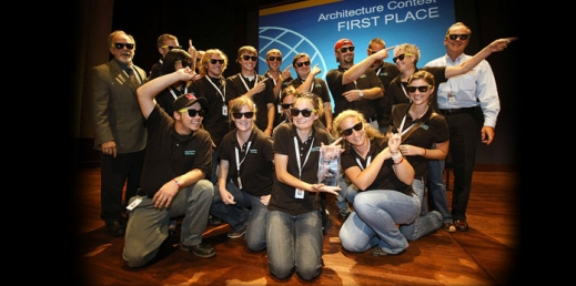 Photo of team after winning first place in the Architecture contest