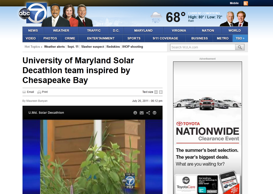Screenshot of ABC 7 website