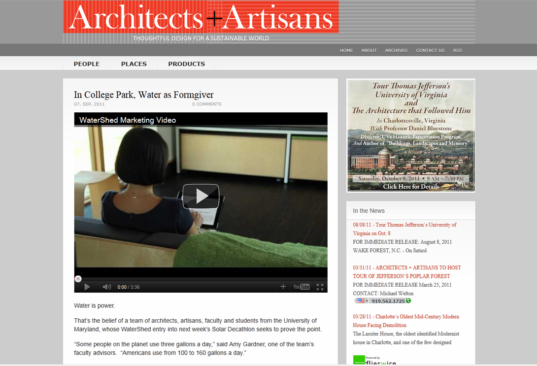 Screenshot of Architects and Artisans webpage