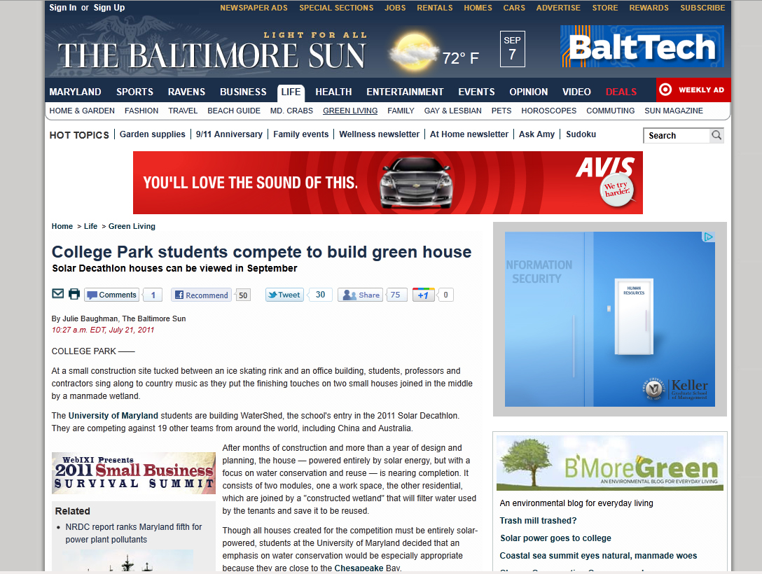 Screenshot of Baltimore Sun article