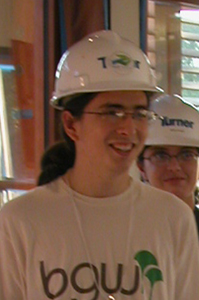 Photo of David Choy wearing a hardhat in LEAFHouse