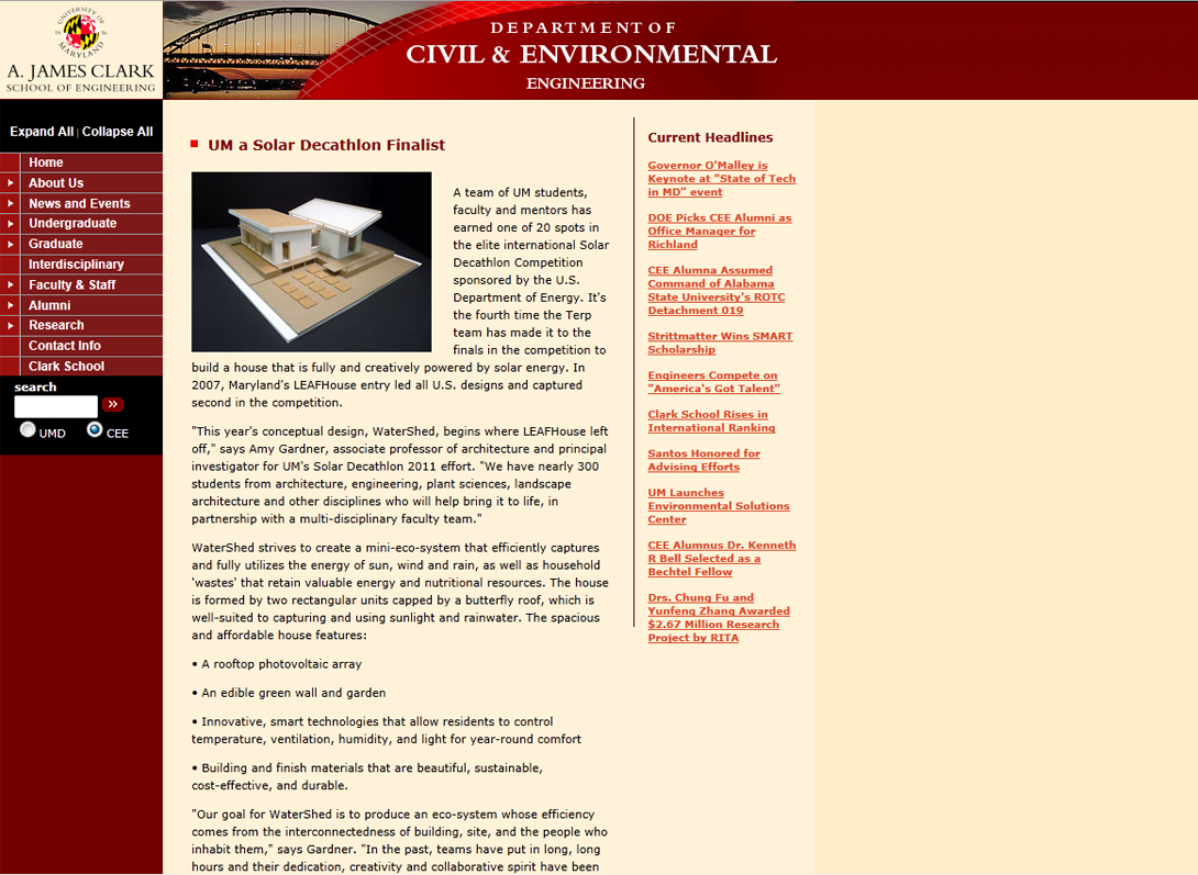 Screenshot of Department of Civil & Environmental Engineering website