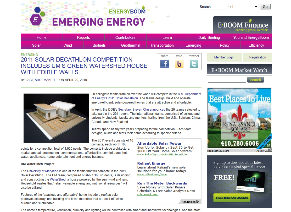Screenshot of Emergy Energy article