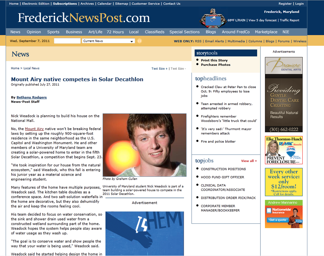 Screenshot of Frederick News Post article