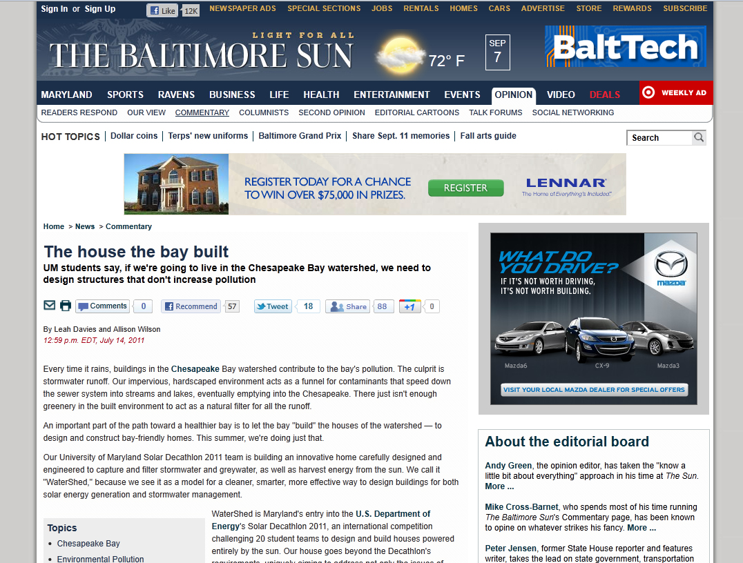 Screenshot of Baltimore Sun website