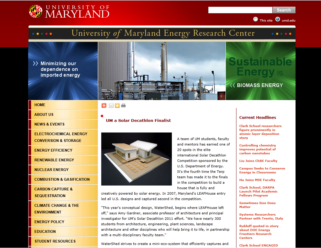 Screenshot of Maryland Energy Research Center website