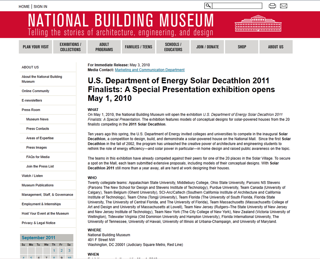 Screenshot of National Building Museum website