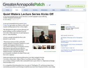 Screenshot of Quiet Waters lecture series article