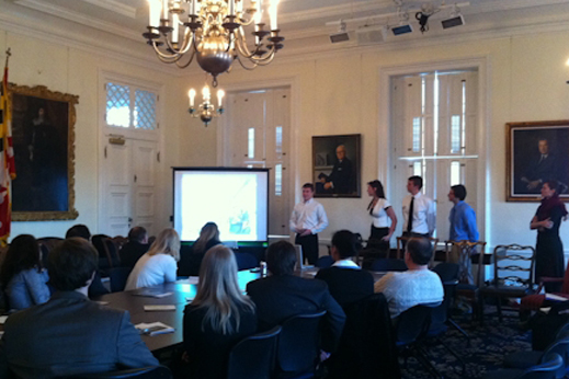 Photo of Team Leaders presenting to Maryland State Legislature