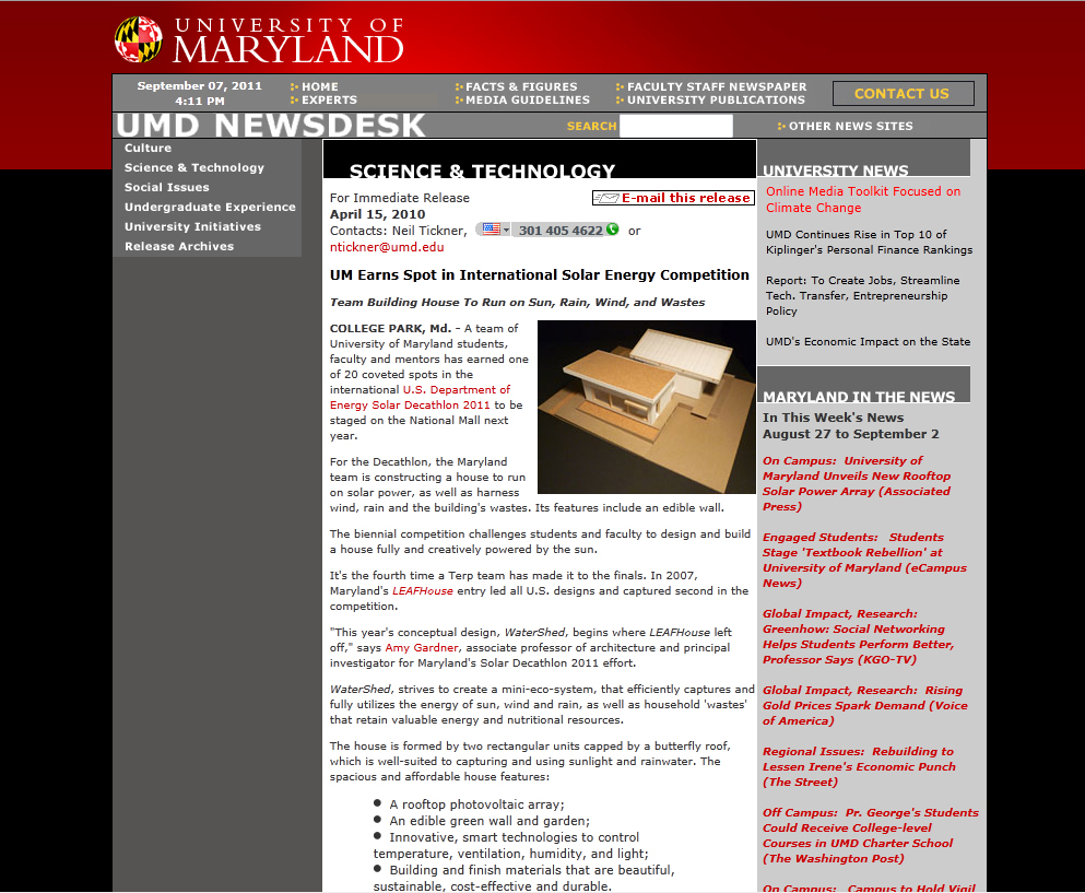 Screenshot of UMD Newsdesk website
