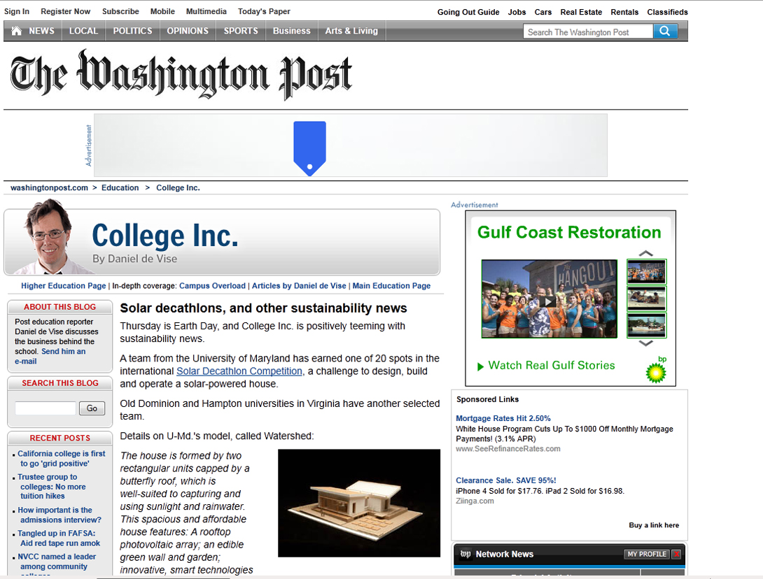 Screenshot of Washington Post article