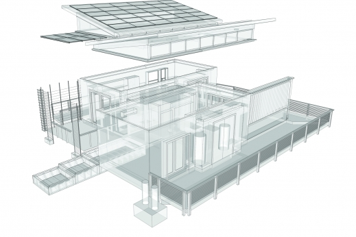 Drawing of house for interactive graphic of plumbing systems
